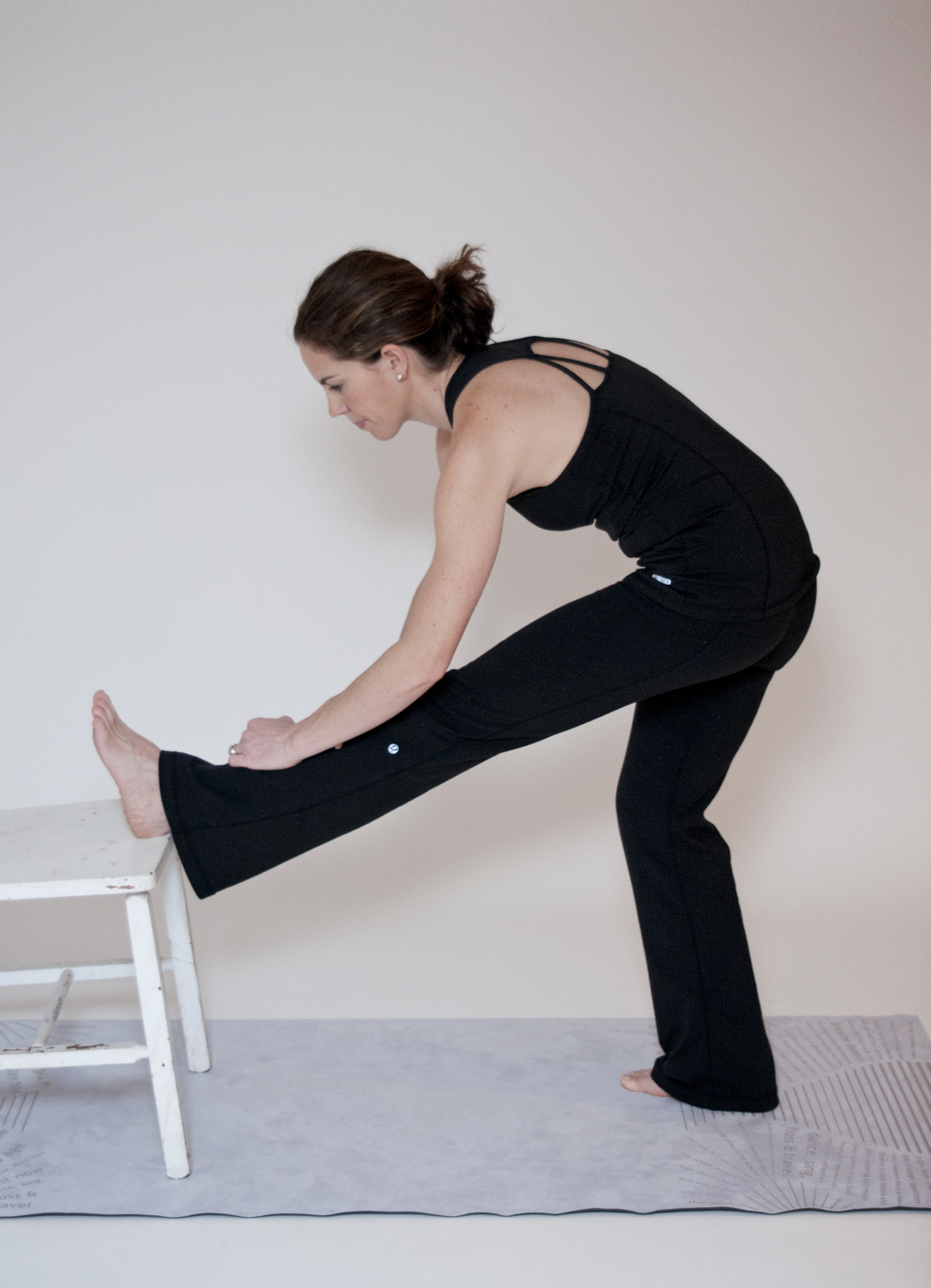 Standing Hamstring (Modification: turn toes inwards and bend knee slightly for an outer hamstring focus)