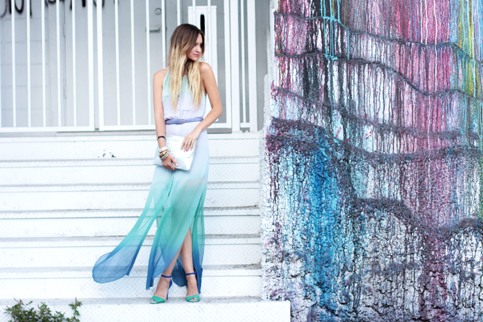 Late Afternoon in Chelsea Flower ombre dress