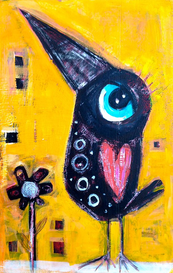 """red wing blackbird in the garden   acrylic on wood panel  11.5x18""""  $225  sold"""