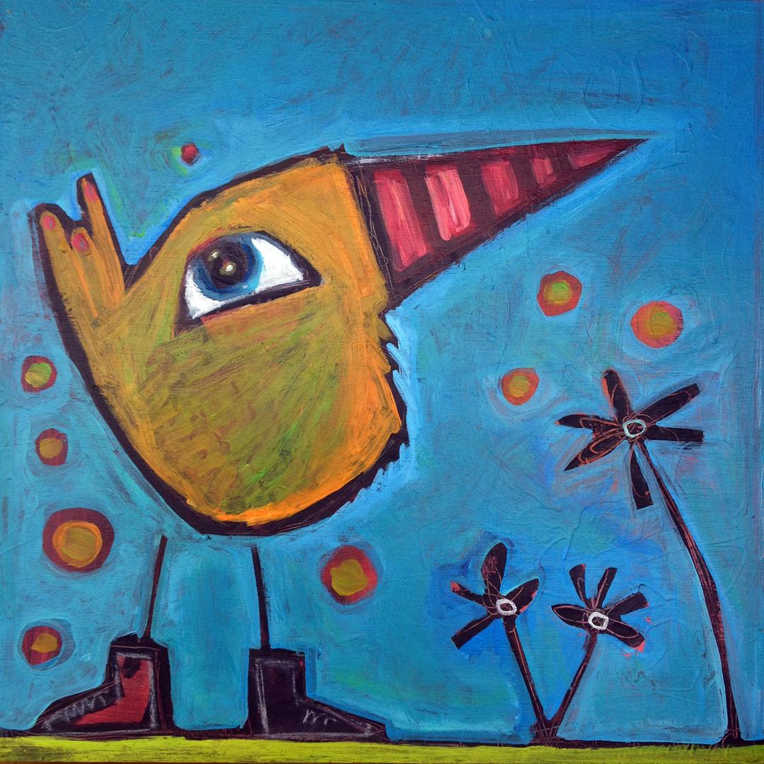 "striped beak bird   acrylic on canvas  24x24""  sold"