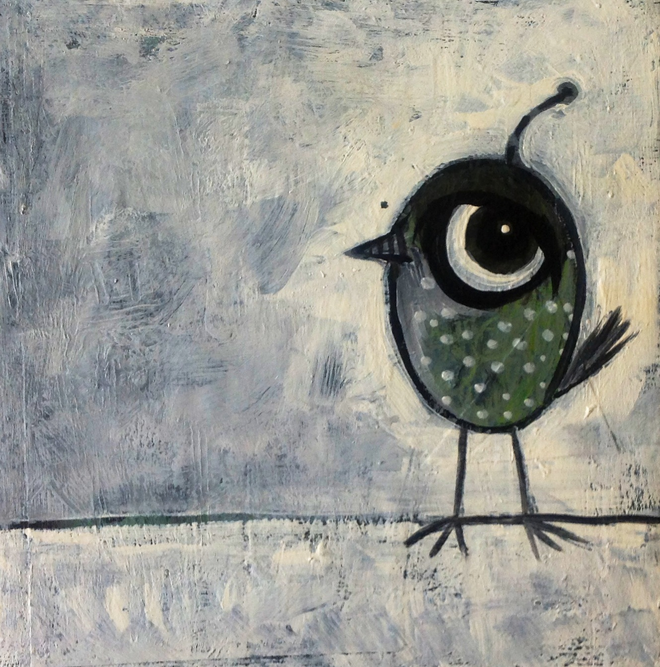 "little spotted bird on white   acrylic on canvas  10x10""   sold"