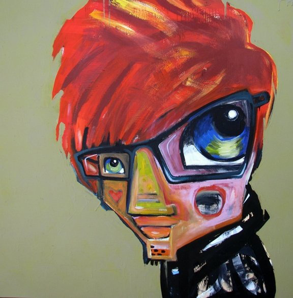 "redheads for peace - brett dennen   acrylic on wood panel  48x48""  not for sale"