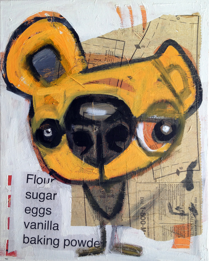"cookie   16"" x 20""  acrylic and collage on canvas  $185.  currently showing at  the hive"
