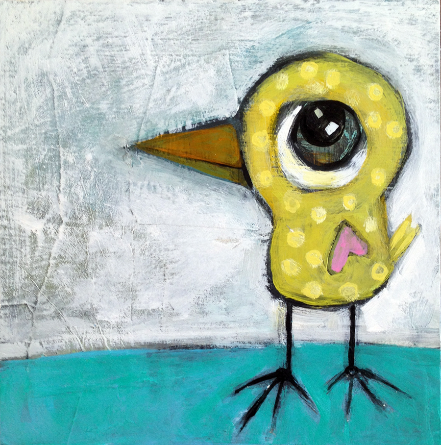 """yellow bird with dots (SOLD!)  acrylic and paper on wood panel  10' x 10""""  $125"""