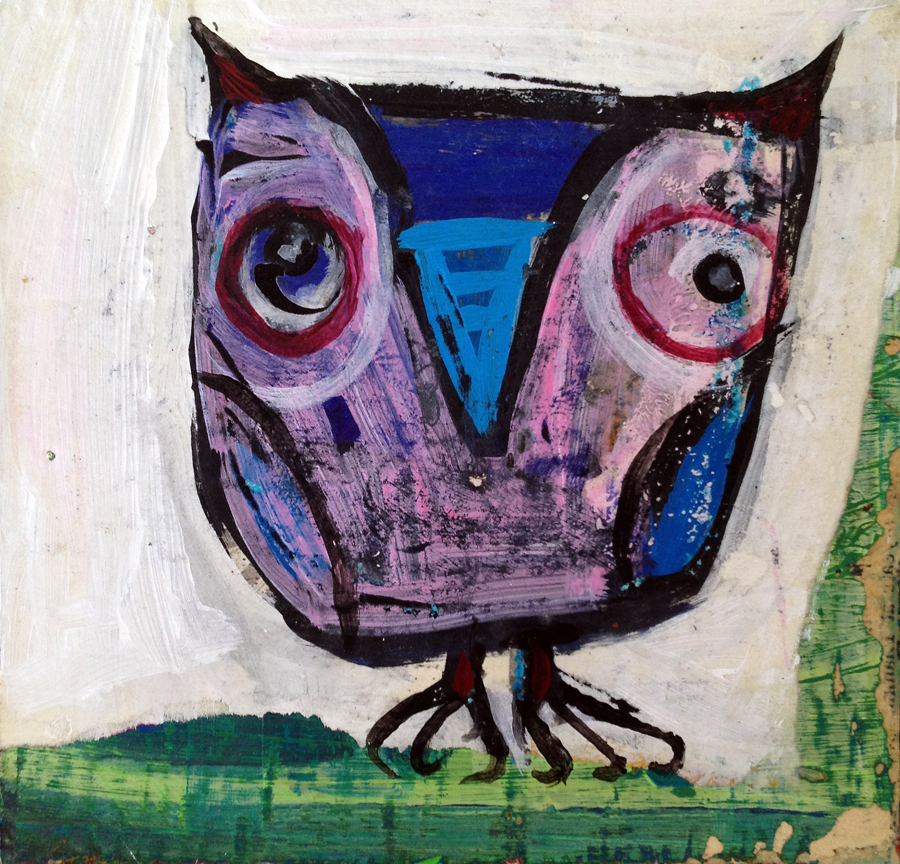 """""""purple owl""""  5"""" x 5""""  paint and paper on wood  $60  sold."""