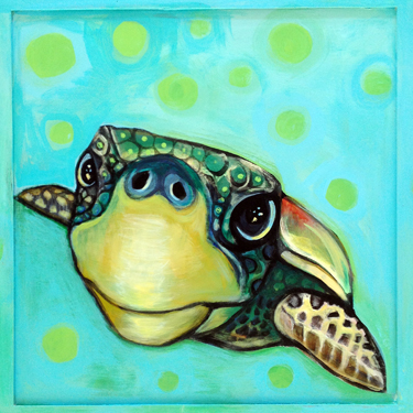 "A painting of a rare and endangered turtle, the giant loggerhead, which nests on the dunes of the beaches along the North Florida Panhandle. There are a lot of caring volunteers who work hard to ensure that the eggs have a chance to hatch and baby turtles make it to the ocean to begin their long journey. It takes 30 years for them to grow to adulthood and then return to the same beach where they hatched to lay their eggs. I named this turtle, Yertle, after a favorite book I used to read to my children when they were young. Yertle is 24"" x 24"" (SOLD!) on a recycled cabinet door. If you're interested in the original, a print, or a set of greeting cards, please contact me. As well, you can order a necklace of this painting, a 1.25"" charm on a 24"" beaded chain. If interested, just send me a note."