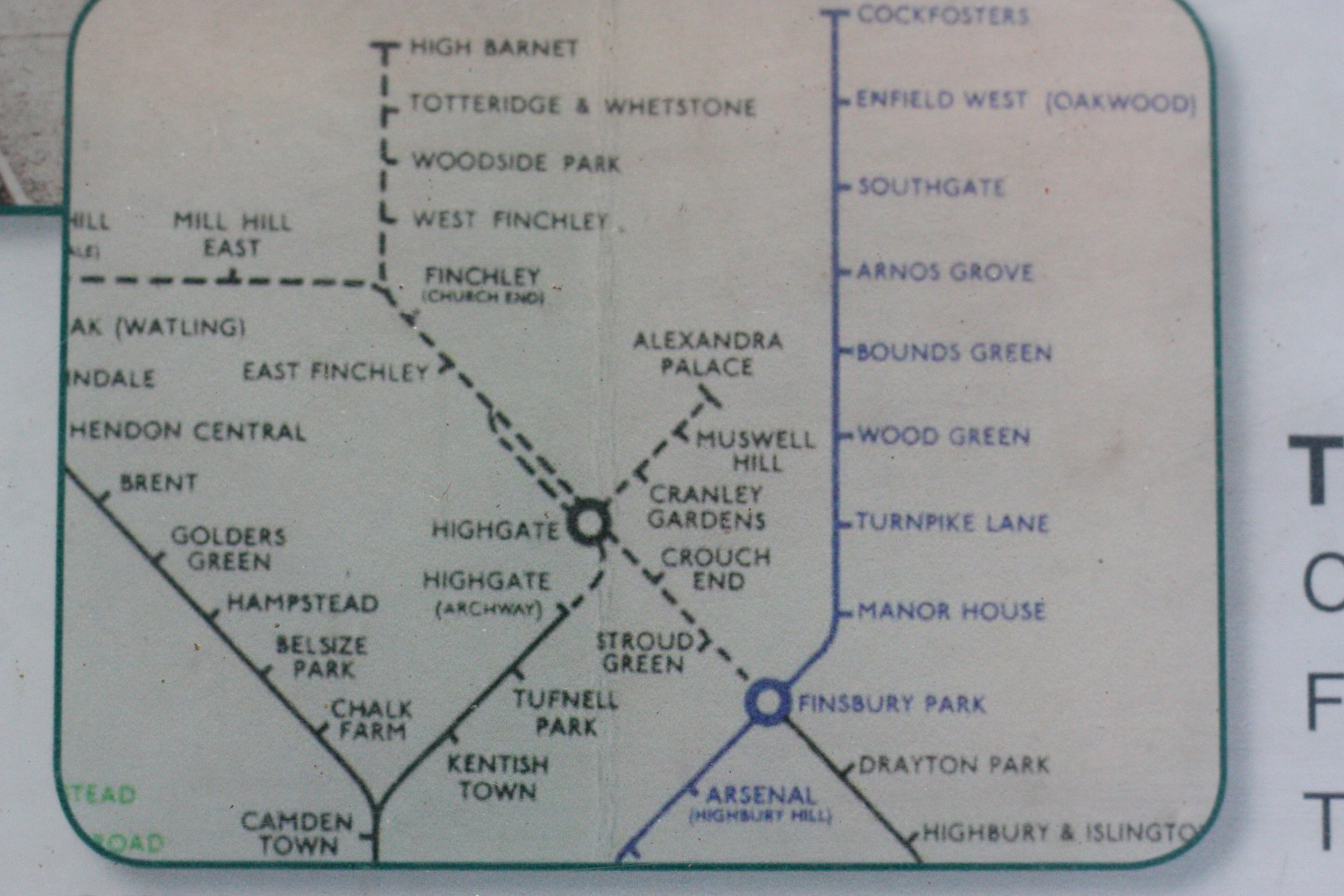 We walked from Alexandra Palace along the - line to Highgate, and then from Highgate along the - line to Finsbury Park.