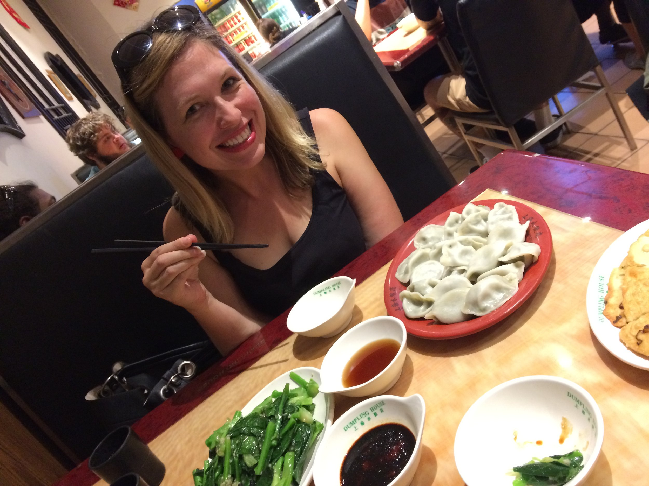 The face of someone who had been anticipating Melbourne dumplings for some years.