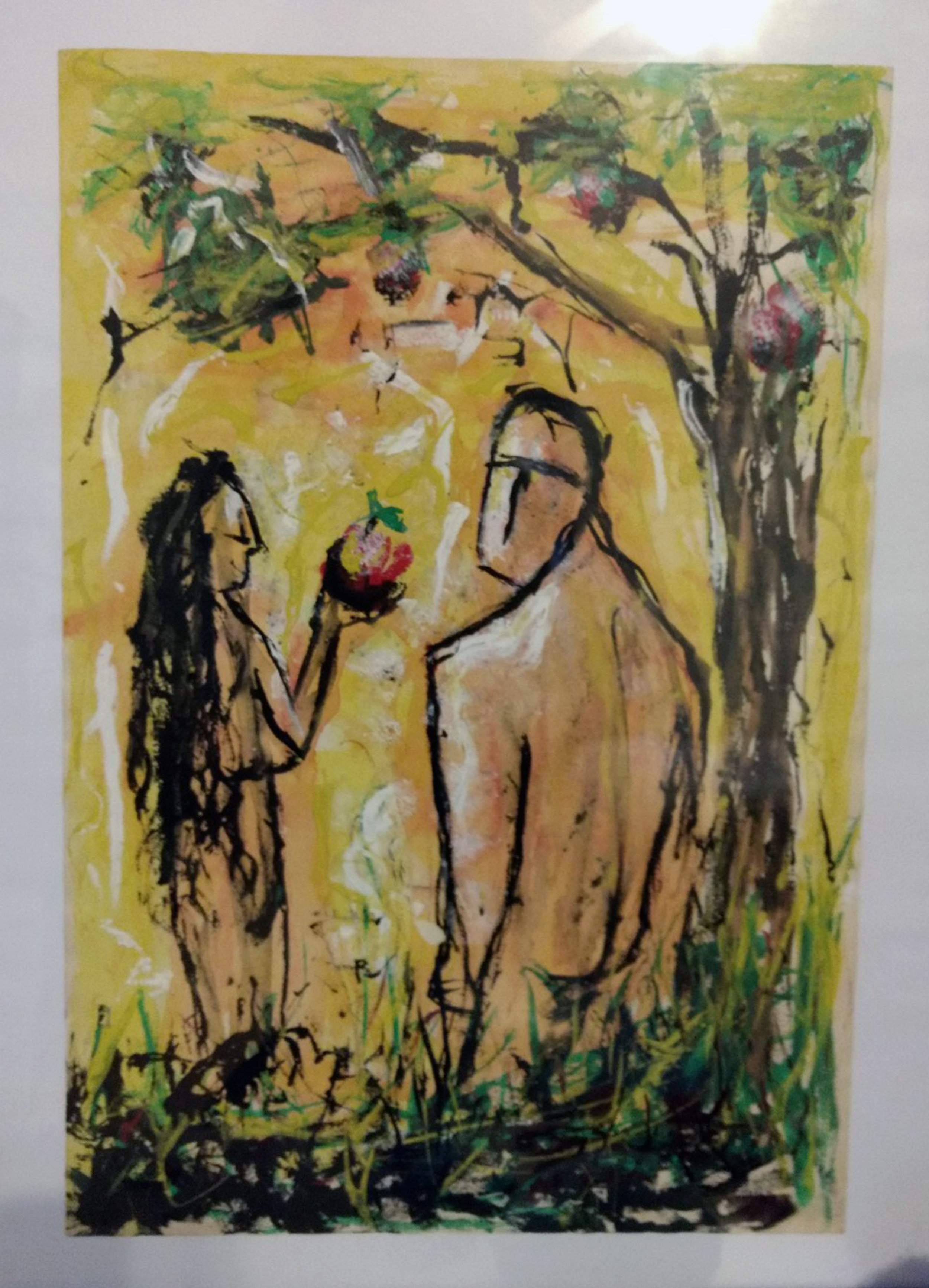 The Garden of Eden in oil pastel.
