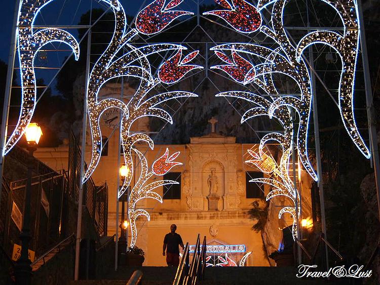 The Sanctuary of Saint Rosalia on Monte Pellegrino at night.