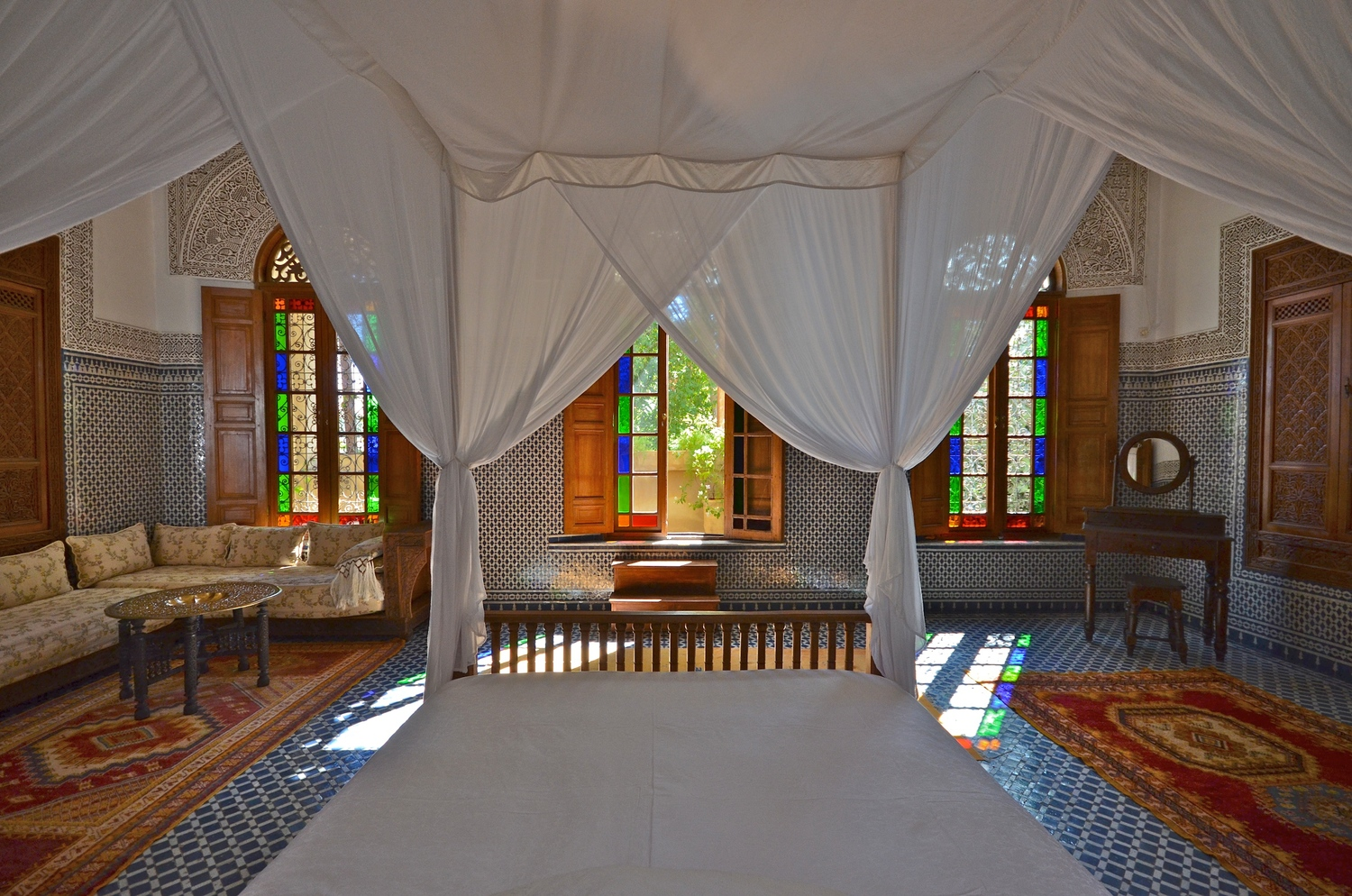 Yasmina Suite is the largest and most ornate  suite  with a private balcony overlooking the medina.