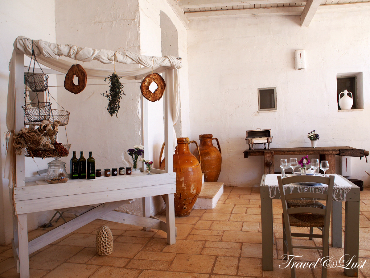 Charming breakfast station where guests can enjoy a selection of cheeses, cold cut meats, and of course their own olive oil and tomatoes.