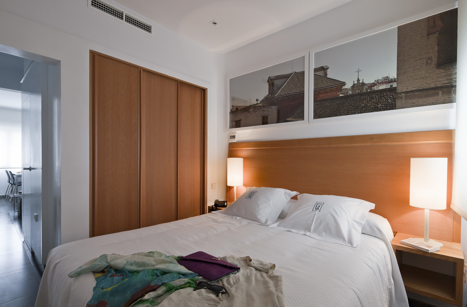 Bedroom in suite 3 is in the interior part of the apartment, away from the street noise.
