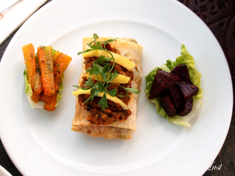 Vegetable b'stilla - traditional Moroccan flakey pastry with vegetables inside.