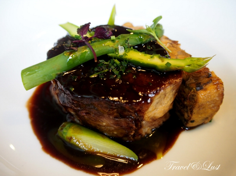 Low temperature cooked lamb with eggplant bread pudding.