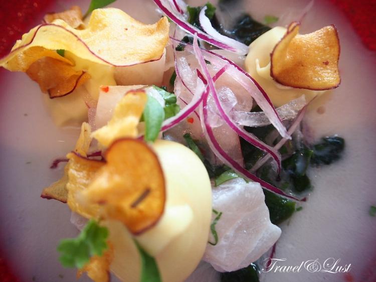 ''Ceviche Puro'' - Seasonal white fish, mashed sweet potato, onion, seaweed and tiger mix.