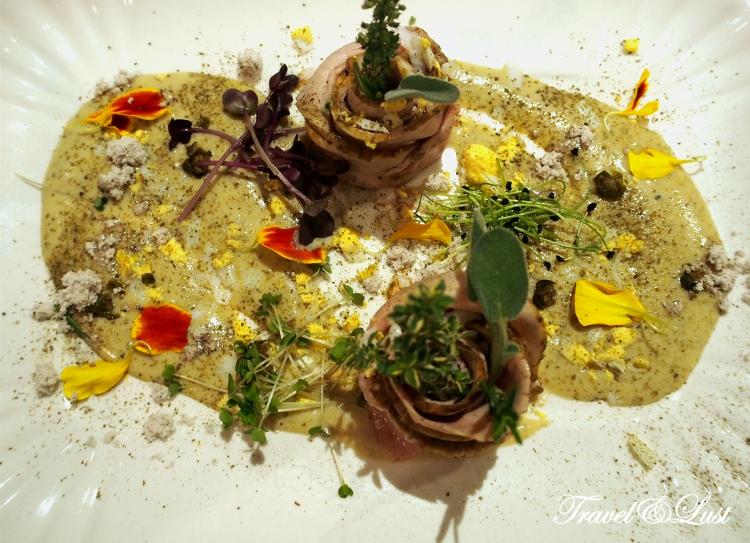 Bonito Vitello (classical Italian Vitello Tonnato) which is roast beef with mackerel sauce.