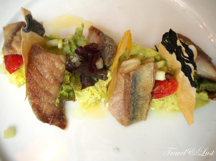 Mackerel grits, asparagus mousse and fresh fruits from their garden.