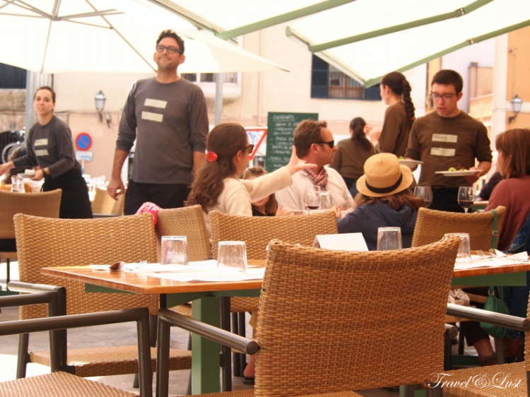 Staff are always attentive to details in the busy terrace.