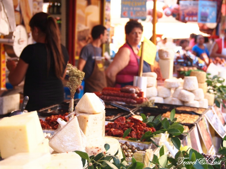 Insane choice of cold meat and cheese are sold at a fair price in Ballarò street market.