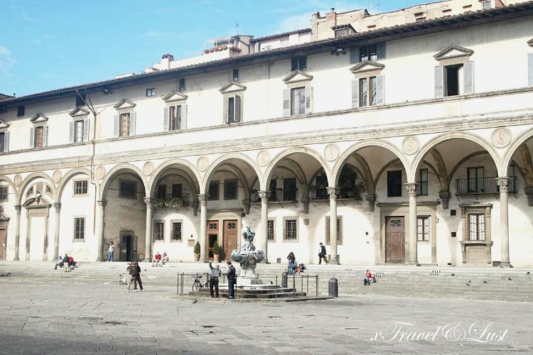 The beautiful Fontane dei Mostri Marini at the Piazza della Santissima Annunziata.