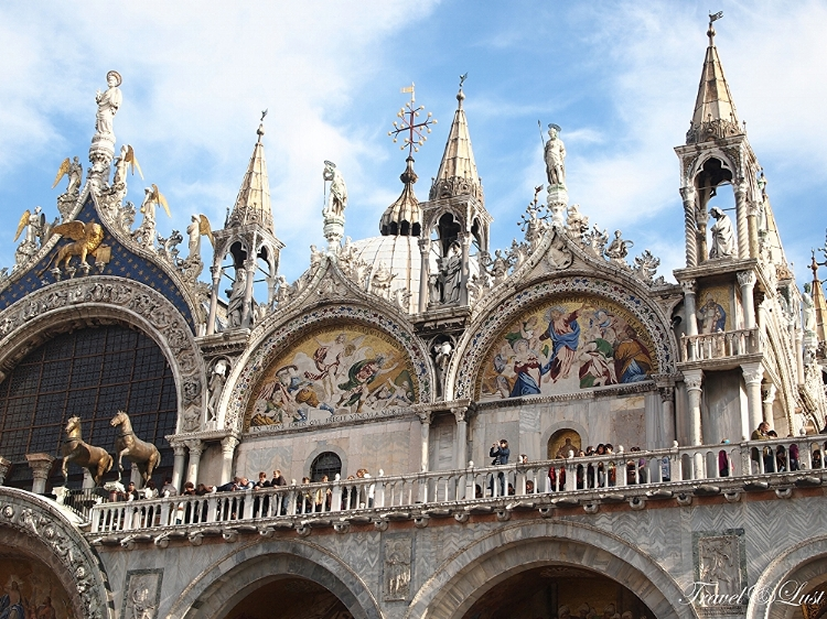 The top part of the facade of St Marks' Basilica.