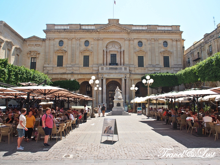 Republic Square next to famous coffee house Cafe Cordina in Valletta city center.