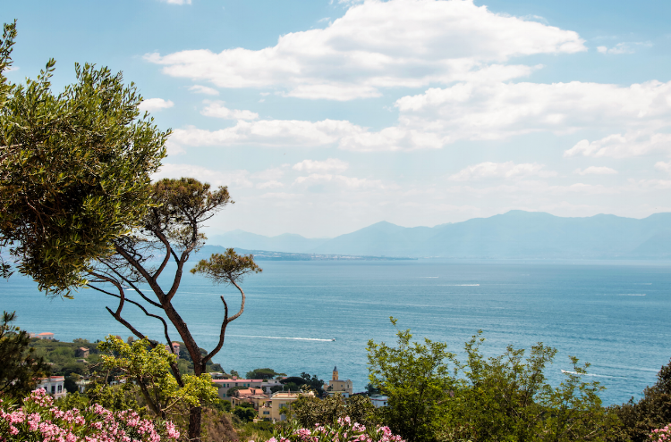 Sea at coast of Posillipo, from Virgiliano park, Naples, Italy