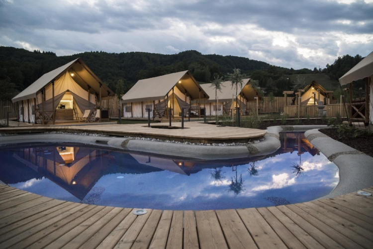 Glamorous tents pitched up at Glamping Olimia Village resort.