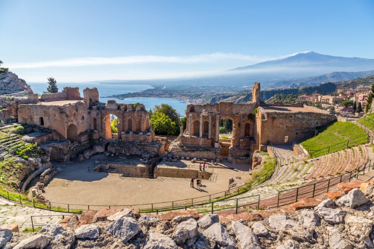Ruins of the picturesque ancient greek theatre of Taormina, Sicily.