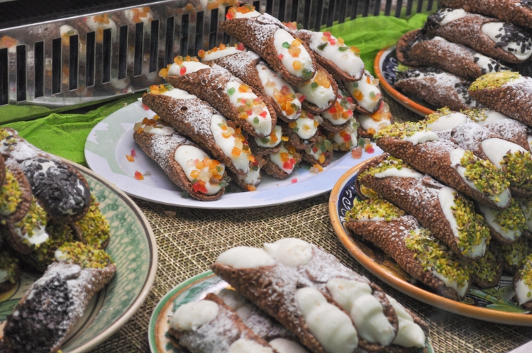A variety of cannoli Sicilian sweets in Taormina, Sicily.