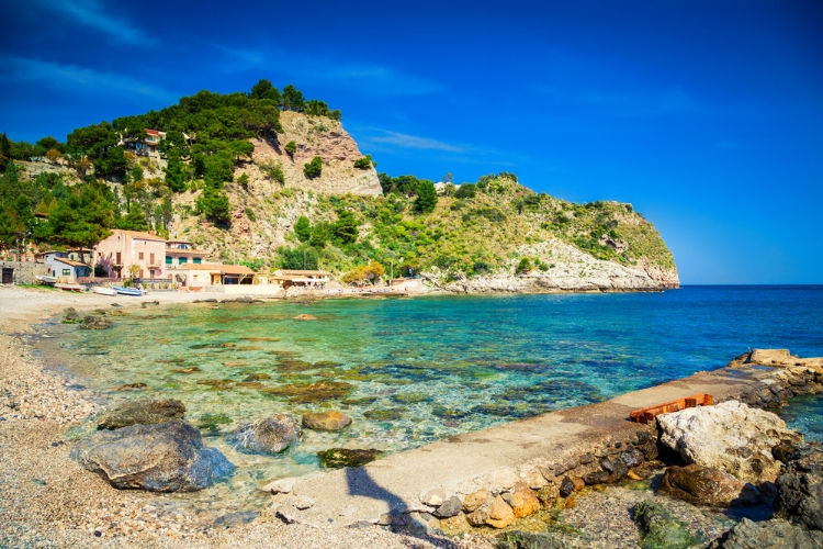 The famous beach Isola Bella in Sicily, Italy.