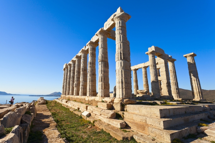At the top of the impressive cliff in Cape Sounion lies the famous Temple of Poseidon.