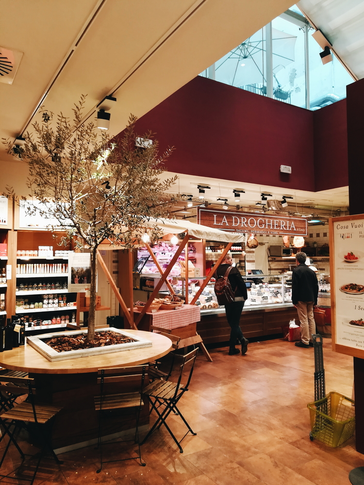 Inside food mecca Eataly, a perfect stop for topping up on treats for during your stay or to take home.