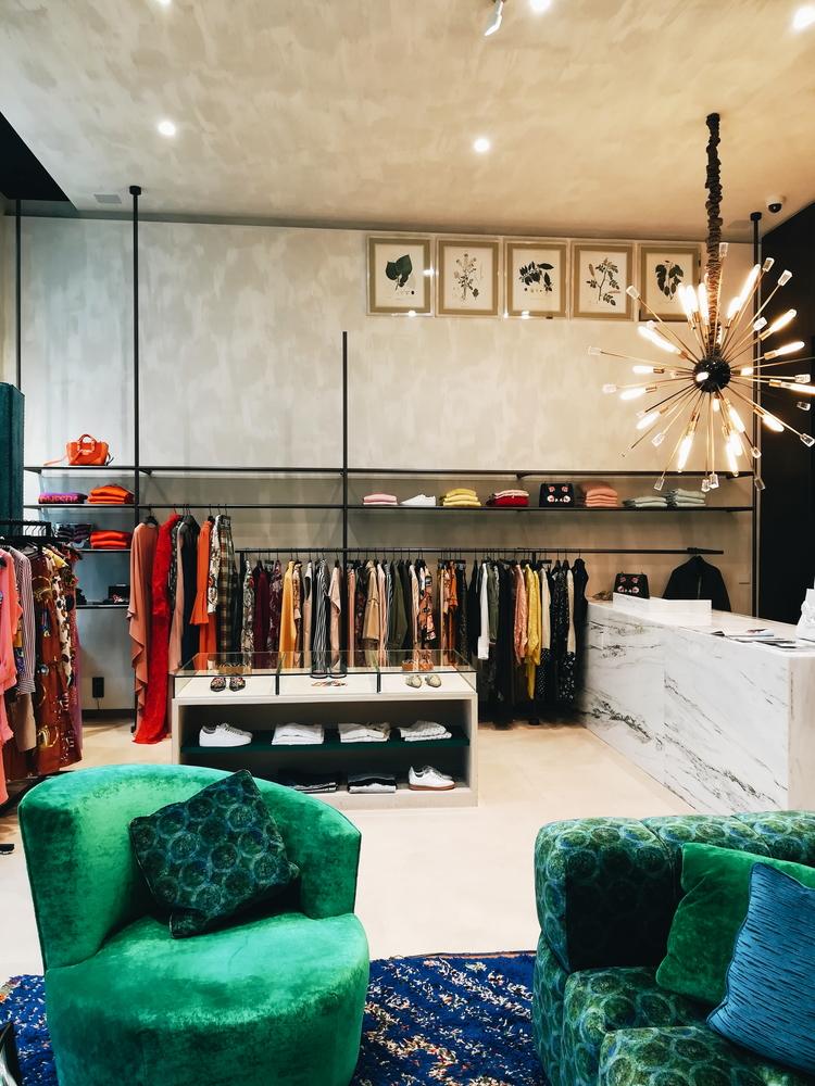 Pristine interior and bold colours at a boutique store in the centre.