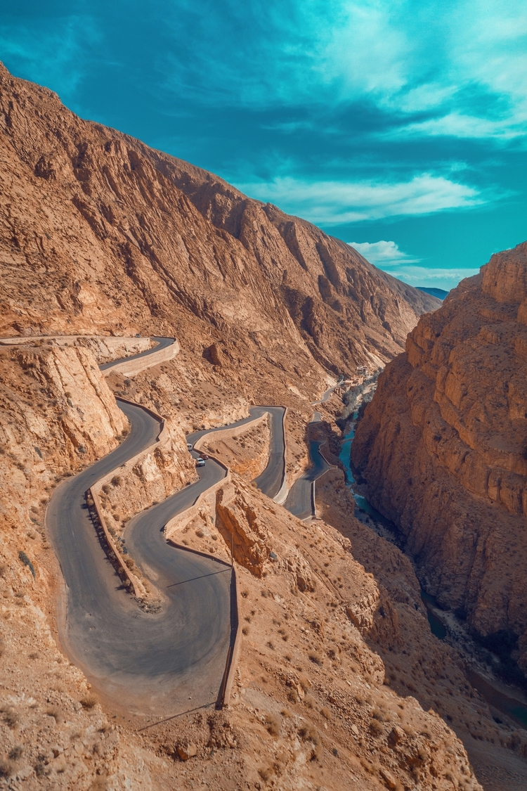 Driving on the road in the Dades Valley in Tisdrine, Ouarzazate, Morocco.