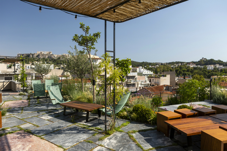 Uber-cool rooftop at The Foundry hotel, Athens.