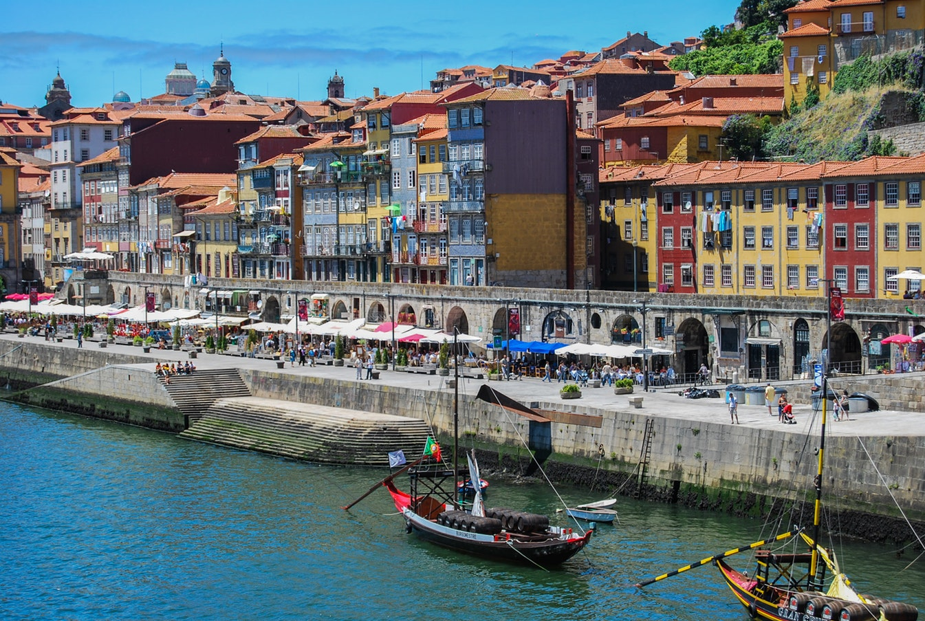The vibrant city of Oporto´s famous port lodges in Gaia.