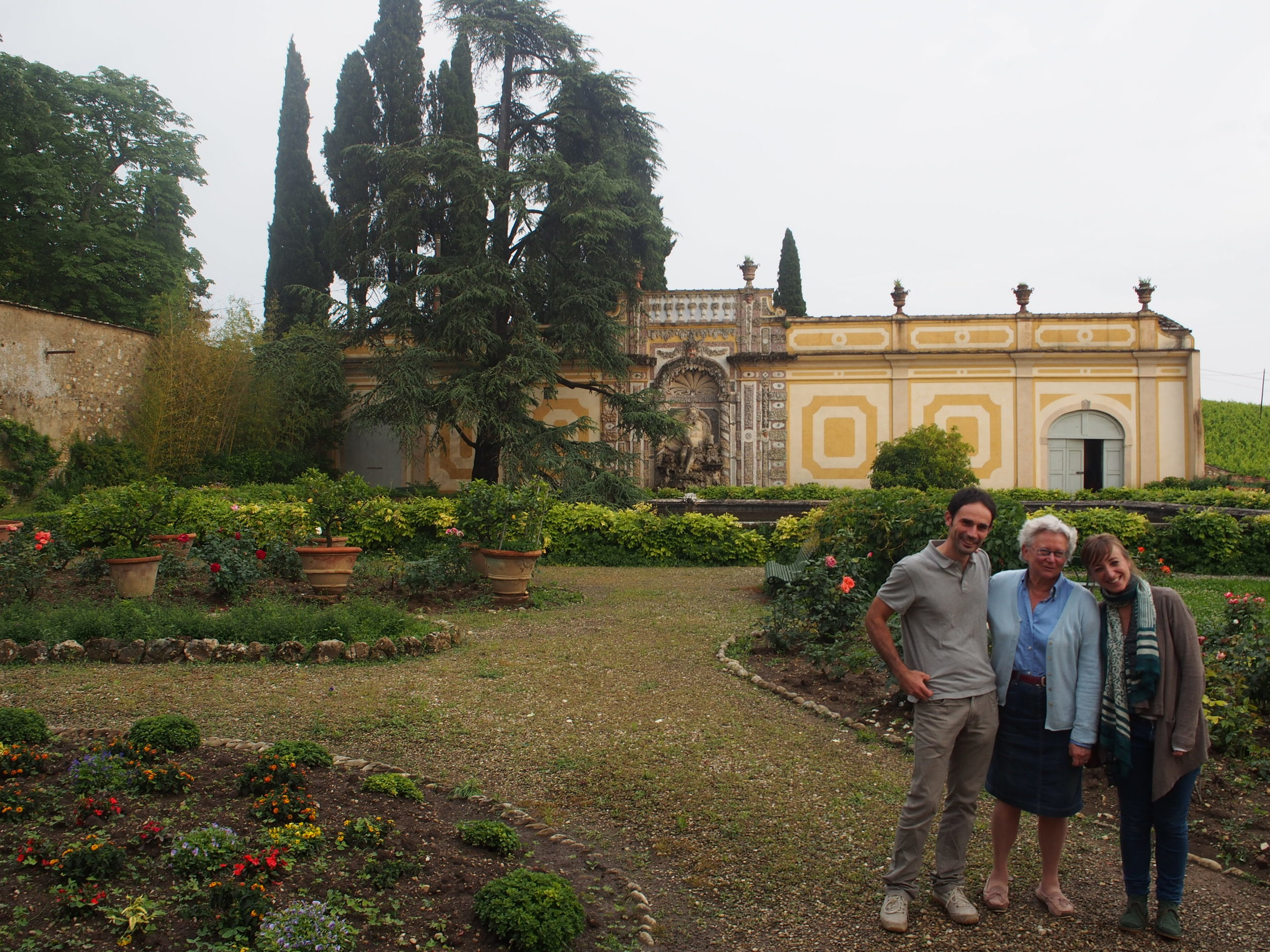 (Left to Right) Alessio, Anna and Arianna at the back garden of the Antinori family's Renaissance Villa Il Cigliano.