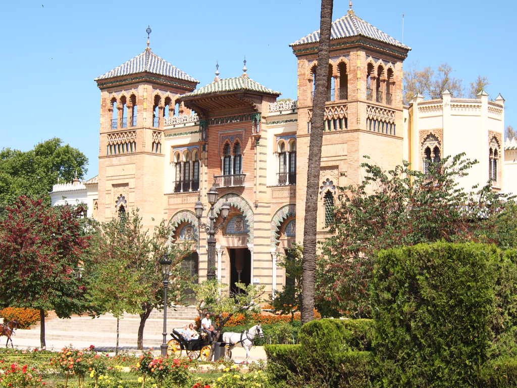 Maria Luisa Park is a paradisical terrain serenaded with palms and orange trees, elms and Mediterranean pines, with the popular Plaza de España as the centrepiece.