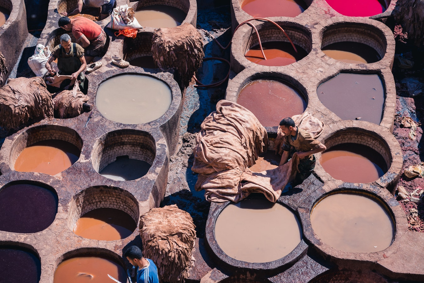 Located in Fes El Bali, the oldest Medina quarter in the city, you can watch the men at work in the Chouara Tannery.