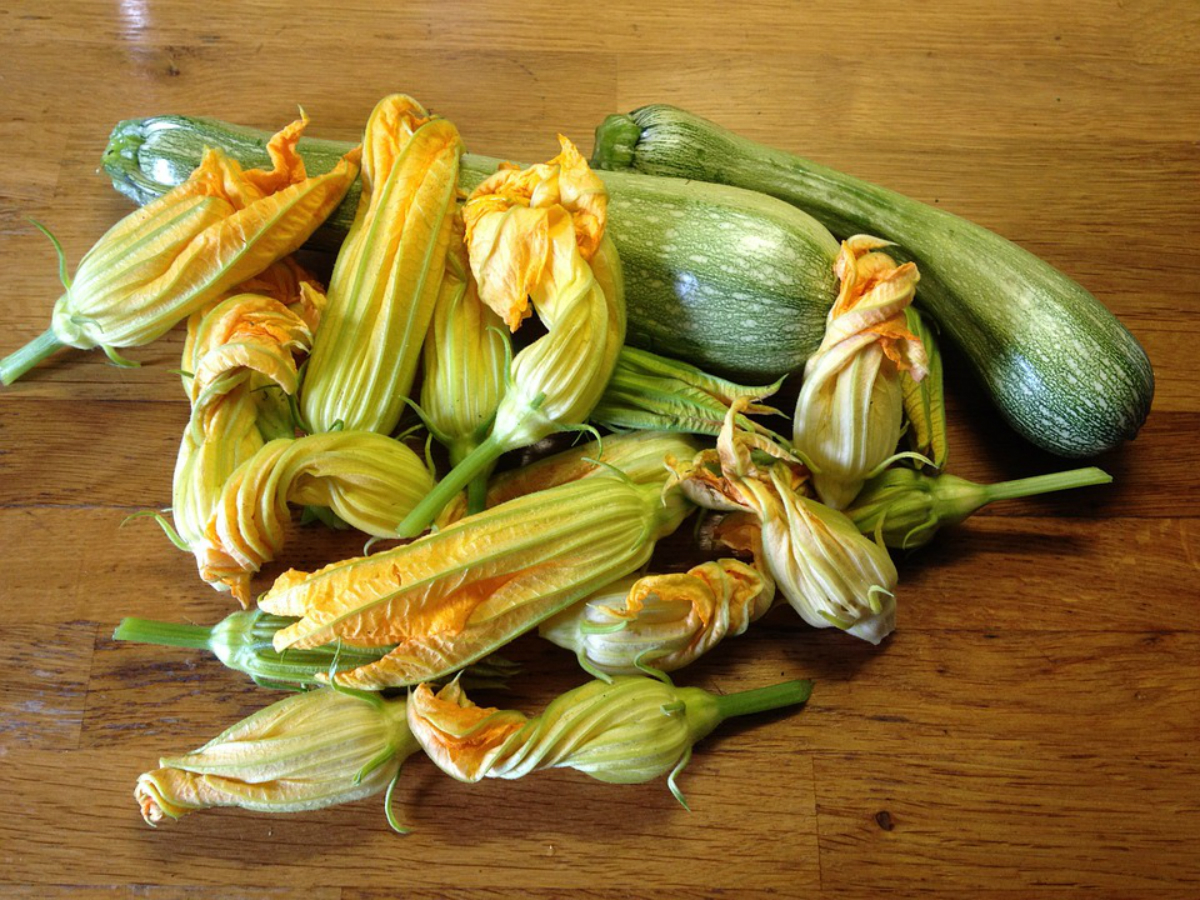 Courgettes with flowers gathered from the nearby farm.
