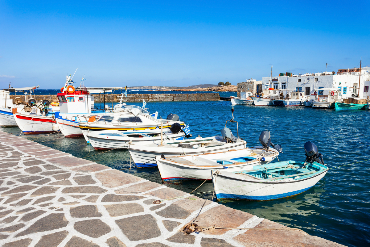 Boats at the picturesque port of Paros.