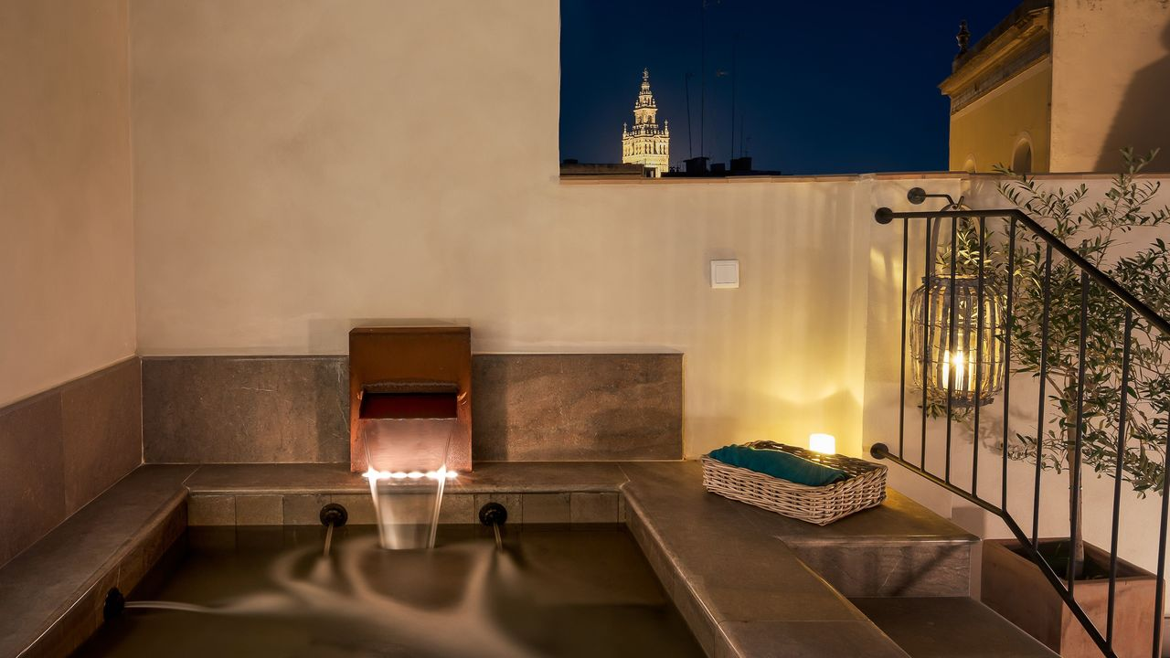 An intimate plunge pool up on the terrace at the hotel.