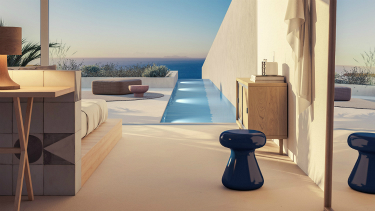 Exterior view of room at Andronis Arcadia Santorini.