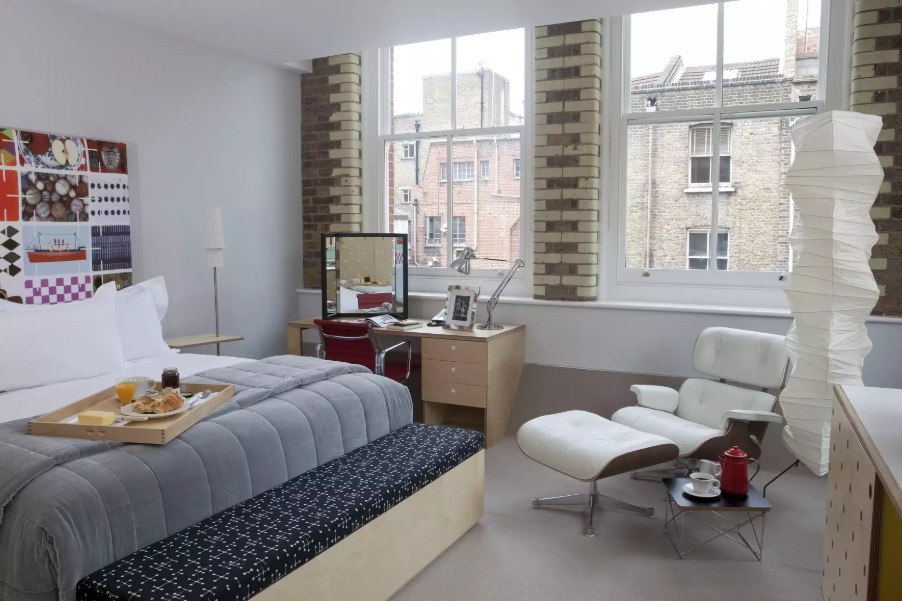 One of the stylishly furnished rooms at the Boundary London on Redchurch Street.