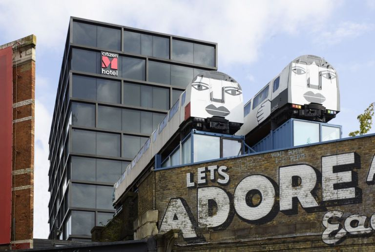 CitizenM Shoreditch among street art in the heart of East London.
