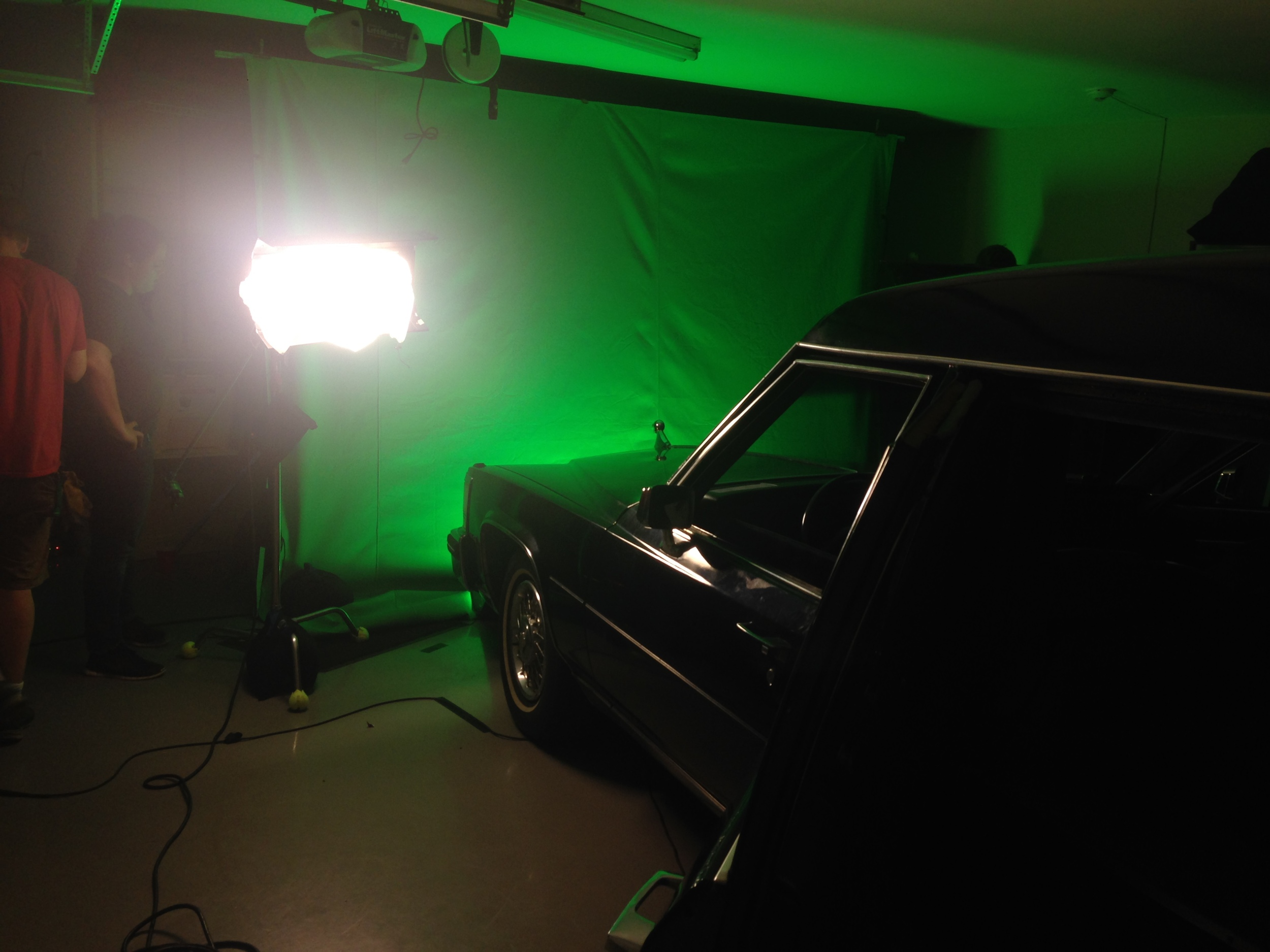 Green screen shots in Craig's garage. Hot lights + close quarter = a very sweaty cast and crew.