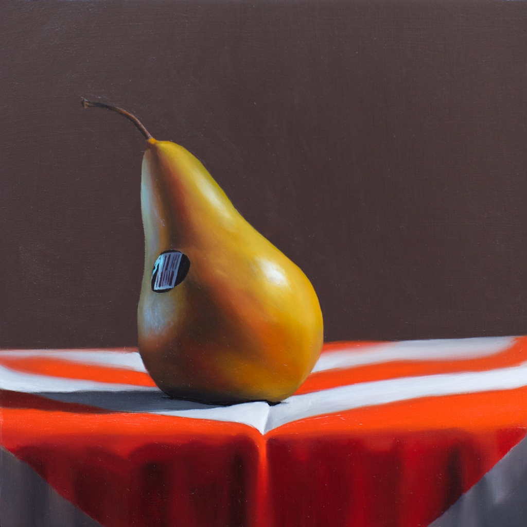 """The Laid-Back Pear 8"""" x 8"""" oil on panel SOLD"""