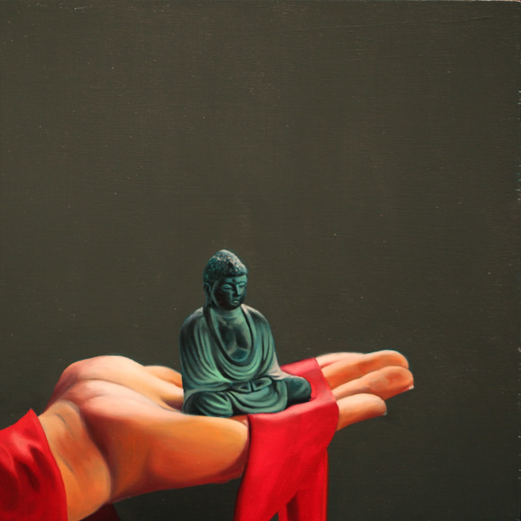 """Holding Care 10"""" x 10"""" oil on panel SOLD"""